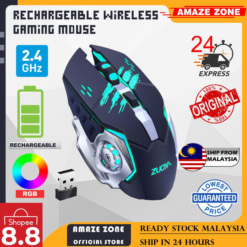Rechargeable Silent Wireless Gaming Mouse 2.4GHz 2000DPI Adjustable 2.4GHz Wireless Bluetooth  Wireless Mouse