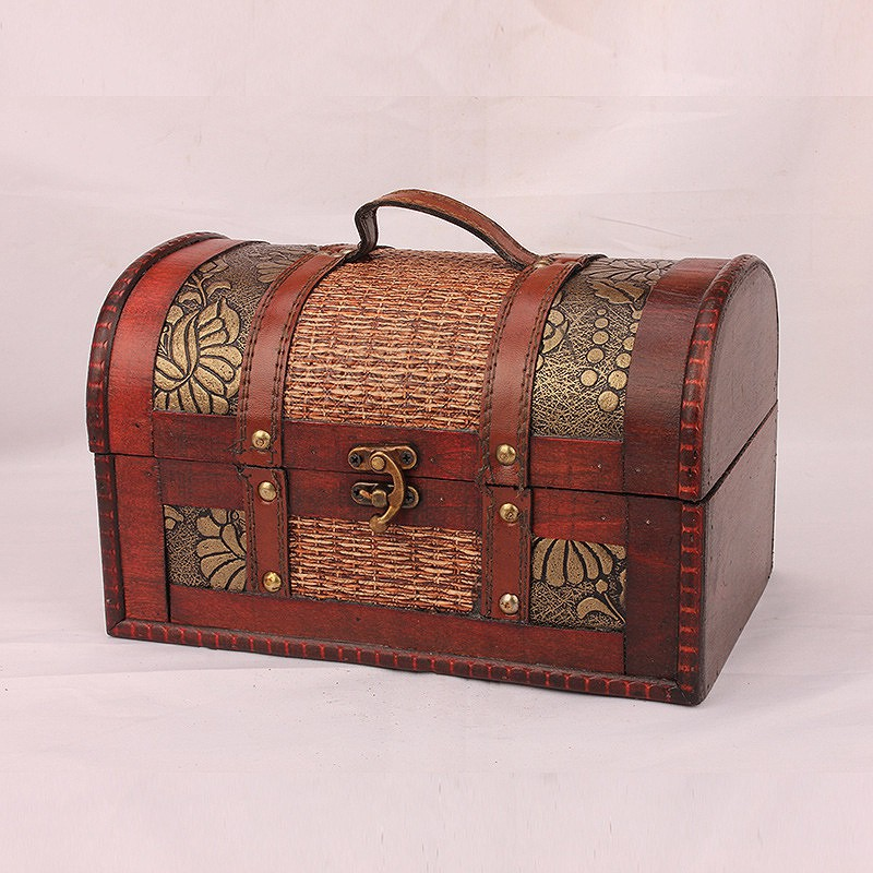 Ancient Style Wooden Jewelry Box Storage vintage small Treasure Chest Wood Crate