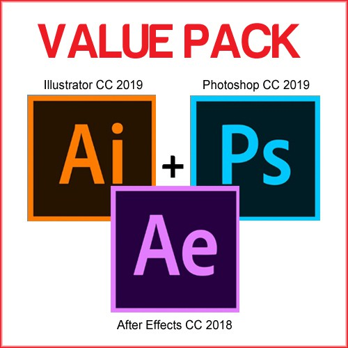 VALUE PACK - Adobe Photoshop + Illustrator 2019 + After Effects 2018 for  Windows