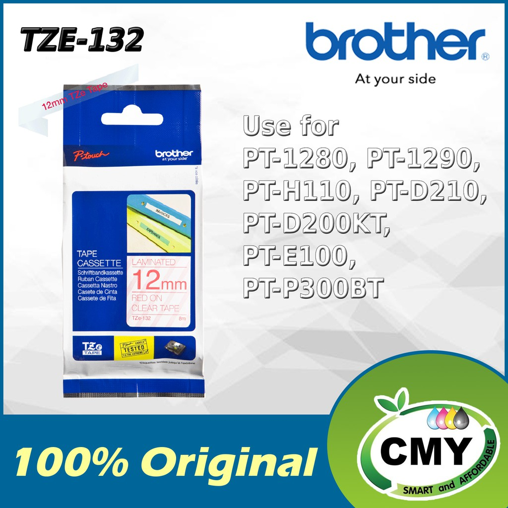 Brother Original TZe-132 12mm Red on Clear D200KT D210 D450 D600 P700