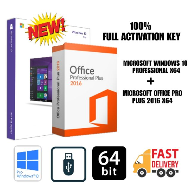 Microsoft Windows 10 Pro + MS Office Pro Plus 2016 (x64) Full Activation