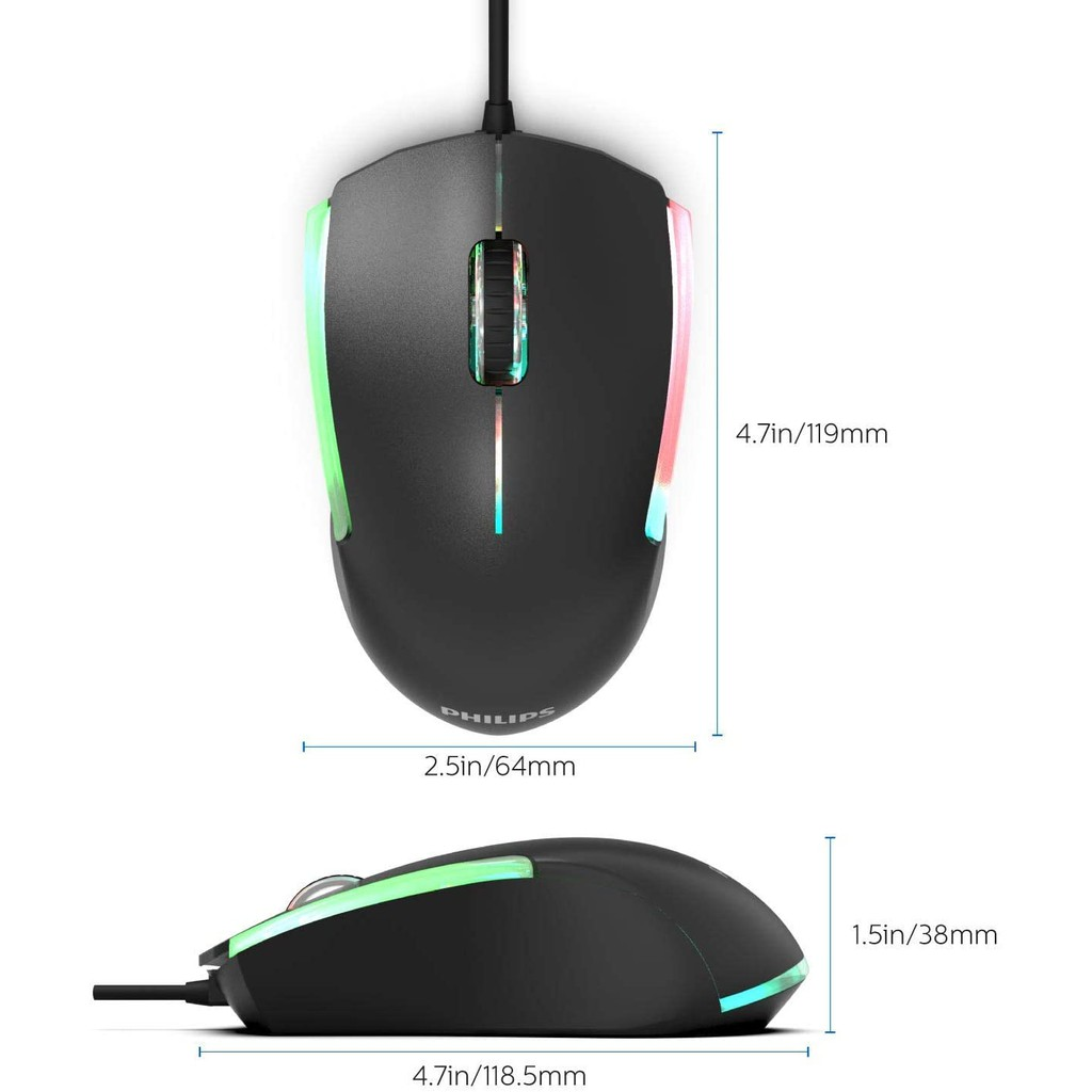 PHILIPS G314 SPK9314 3 Button 1200 DPI Ergonomic with RGB Ambiglow FX Ambidextrous USB Wired Optical Mouse