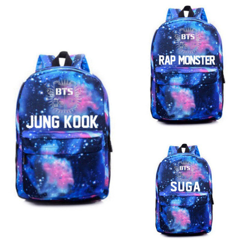 NEW BTS Kpop Bangtan Boys blue bag schoolbag Backpack Kpop 4 color ...