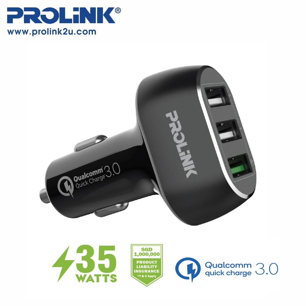 PROLiNK 35W 3-Port Car Charger with IntelliSense PCC33502