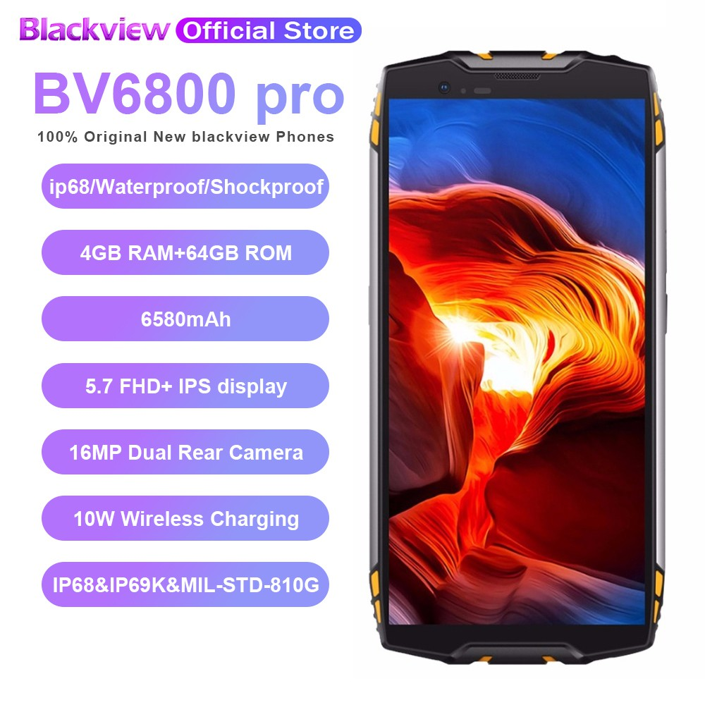 Blackview BV6800 pro RAM 4GB/ROM 64GB Mobile phone 5 7' Smartphone Android  8 0