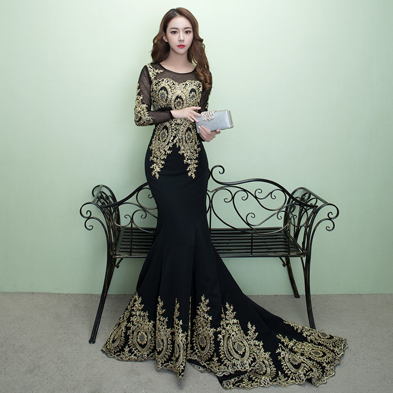 Black Lace Flower Long Sleeve Mermaid Long Tail Wedding Gown Evening Dress Shopee Malaysia,Bridesmaid Dresses Beach Wedding