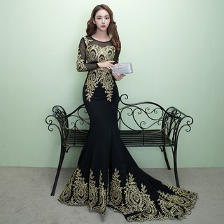 Black Lace Flower Long Sleeve Mermaid Long Tail Wedding Gown Evening Dress Shopee Malaysia,Steven Khalil Mermaid Wedding Dress