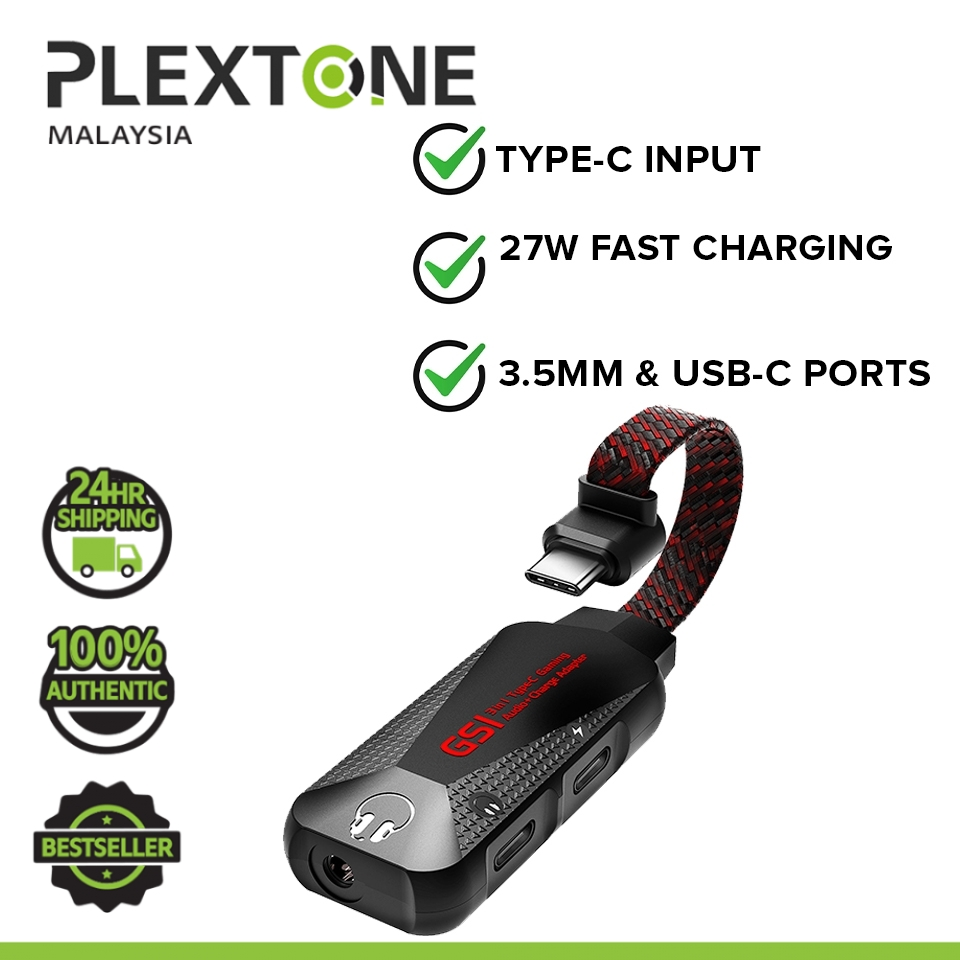 PLEXTONE GS1 Mark II Type C to AUX Audio Jack High Res 3 in 1 Gaming Audio Charge Adapter Connector (3.5mm)