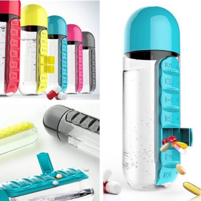 [MALAYSIA] Water Bottle With Built-in Daily 7 Daily Pill Box