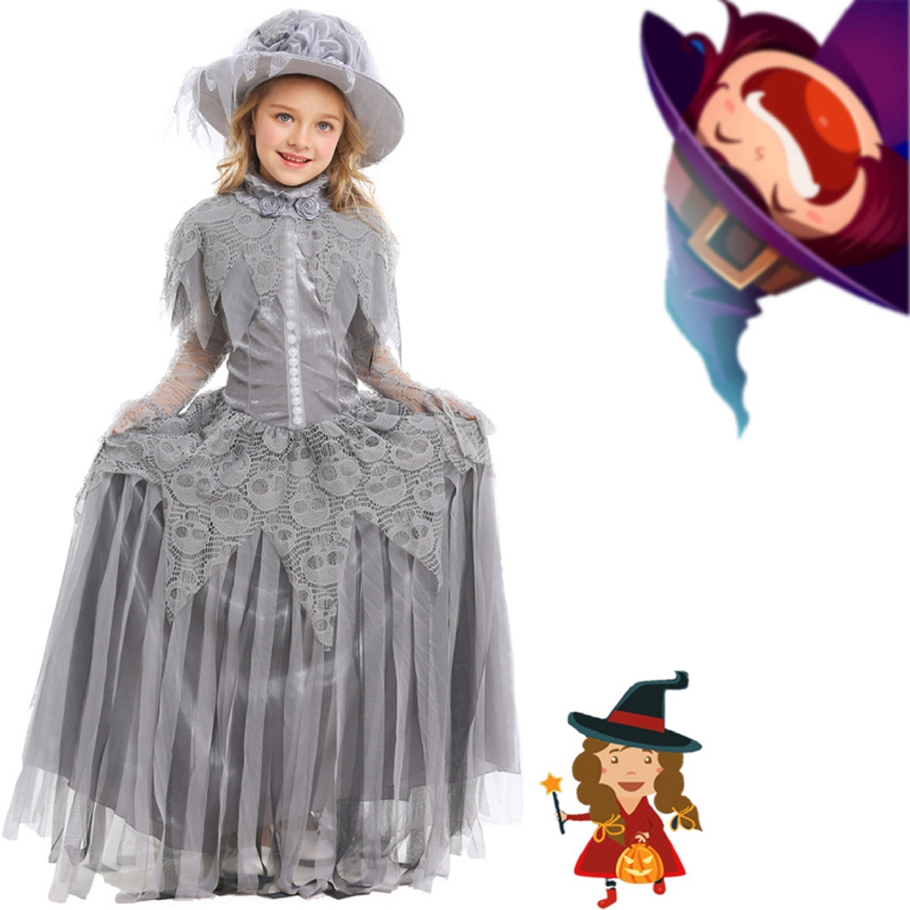 Girls Long Sleeve Princess Dress Kids Cartoon Halloween Cosplay Party Costumes