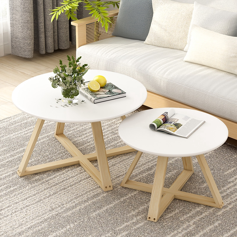 Solid Wood Coffee Table Simple Modern Living Room Small Round Table Simple Sofa Side Balcony Small Coffee Table Shopee Malaysia