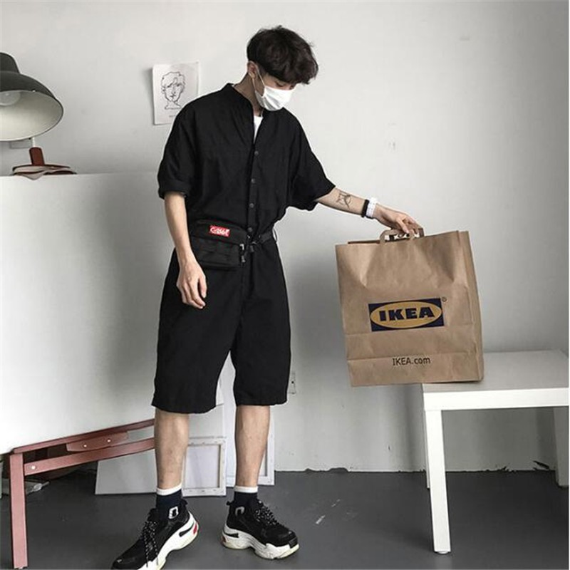 b8c40693fc Fashion Jumpsuit Mens Rompers High Street Shorts Jumpsuit Male Handsome  Baggy