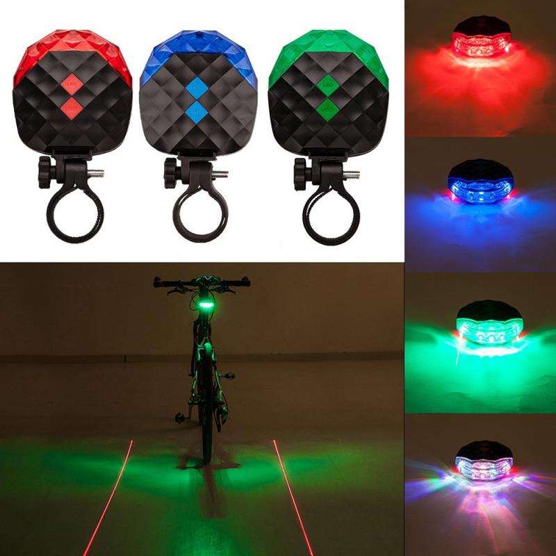 5 LED 2 Lasers 7 Modes Lighting Bicycle Light Cycling Bike Warning Tail Lamp