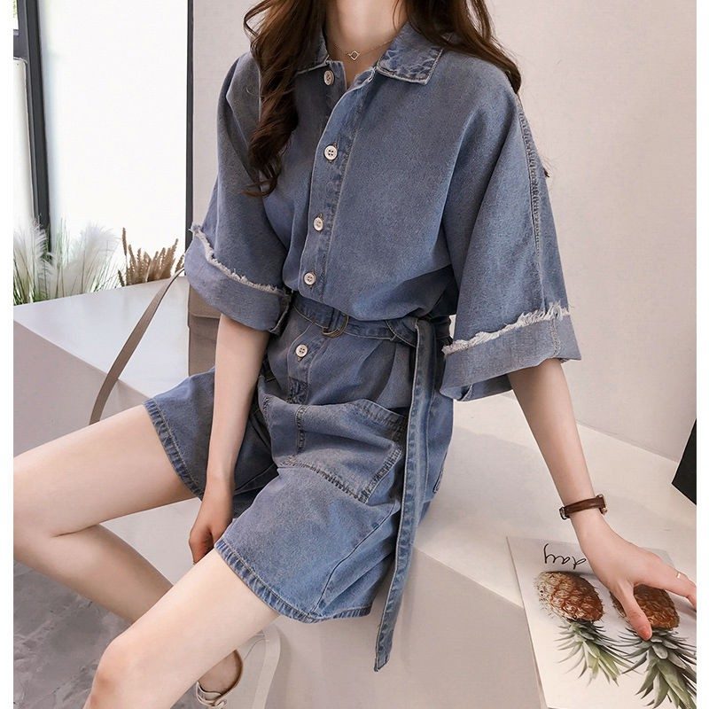 fb0219d91921f Fat MM denim jumpsuit female shorts 2019 spring and summer new Korean  version of loose wide leg pants jumpsuit large si | Shopee Malaysia