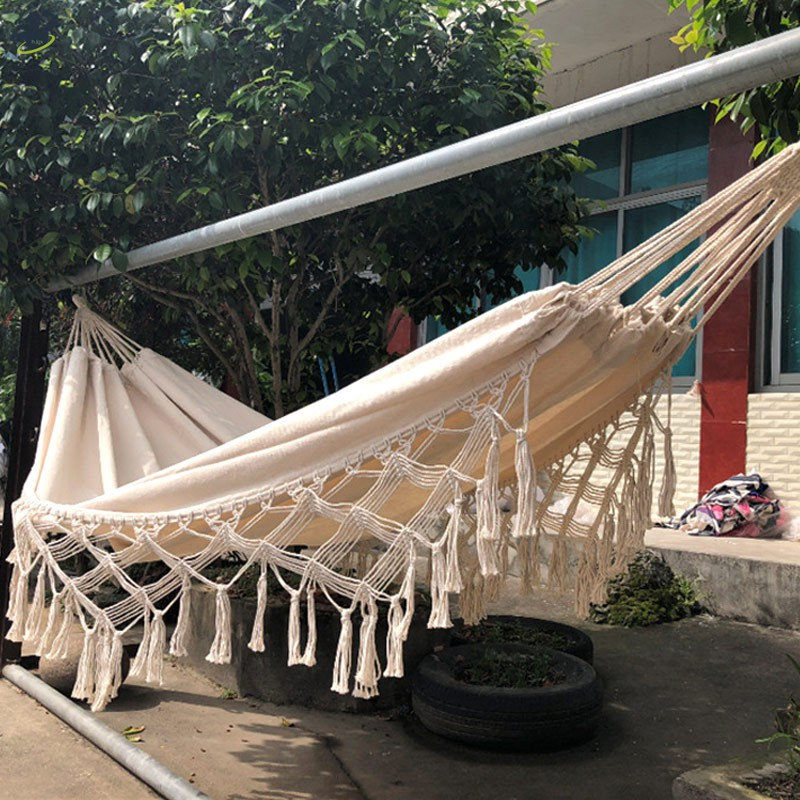 Large Indoor outdoor tassel hammock double beach swing home 320*240*150CM