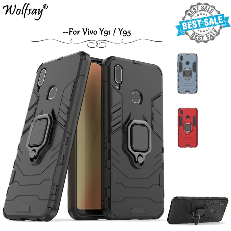 Vivo Y91 / Vivo Y95 phone case & fashion case ring bracket Cover Casing