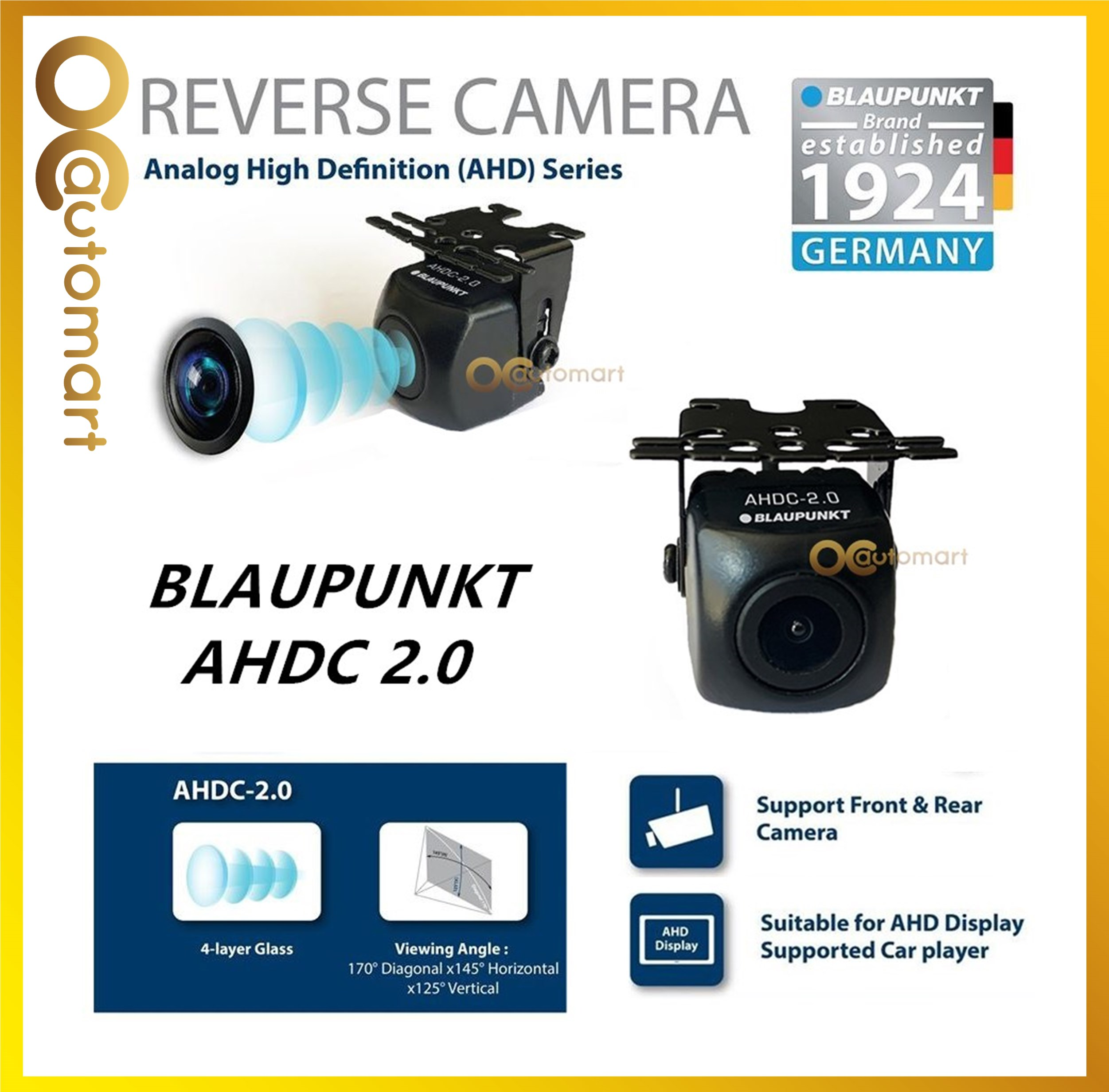 Blaupunkt 170° Ultra Wide Angle Car Reverse Camera AHDC 2.0 Rear Cam Suitable for AHD Display Supported Car Player