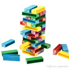 Uno Stacko Stacking Colour Blocks Family Game (45pcs) /30pcs Colourful Cartoon Building Blocks Board Tumbling Tower