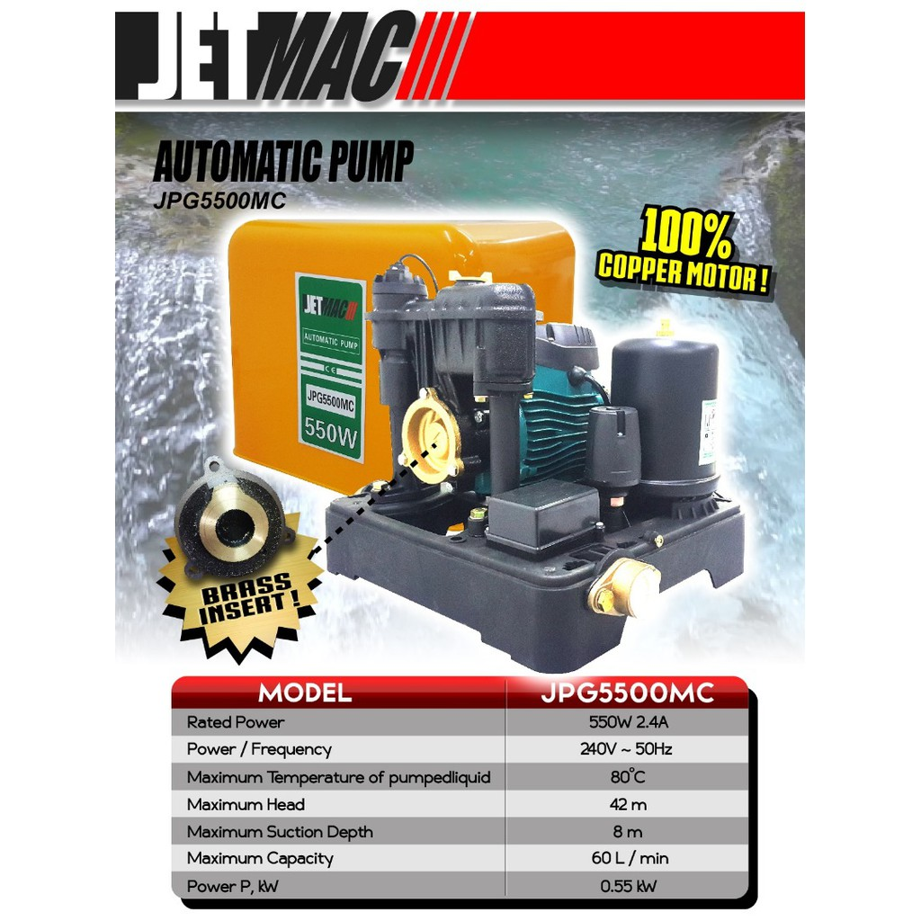 JETMAC JPG5500MC 550W Automatic Water BOOSTER Pump with Cover