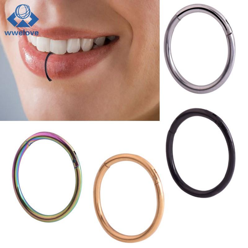 Men Women Lip Ring Clip Stainless Steel Lips Septum Piercing Fake