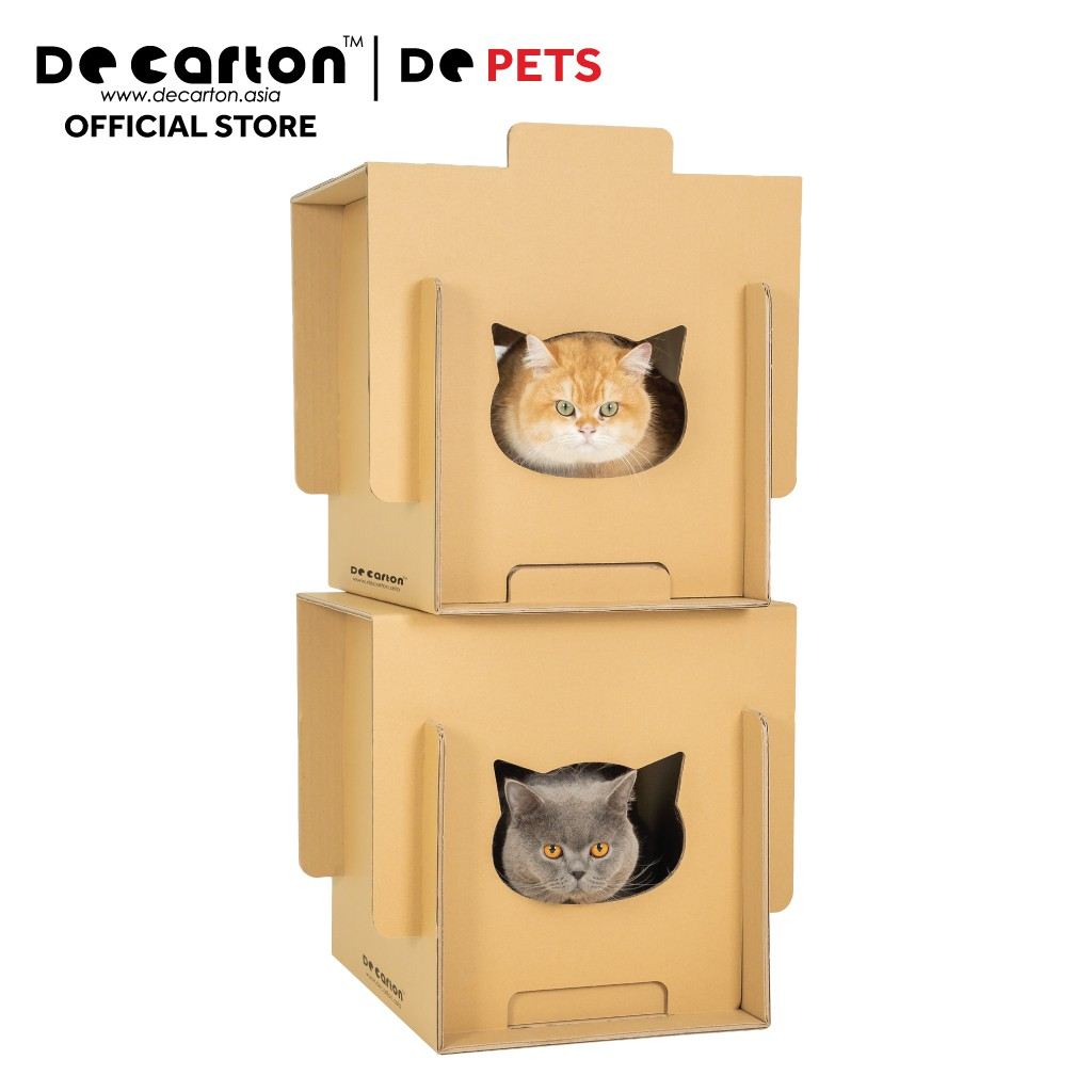 De Carton Cardboard Stackable Meow Meow Box (Set of 2) (Rumah Bertingkat Meow Meow Kucing)