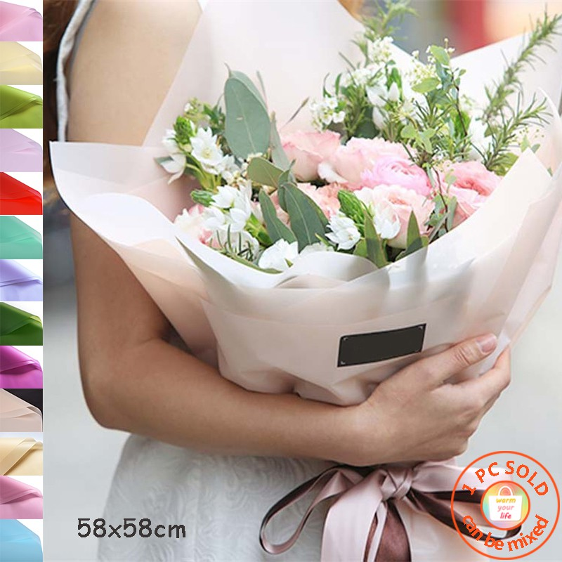 1 Pc Matte Frosted Light Flower Wrapping Paper Gifts Diy Packaging Paper 58x58cm