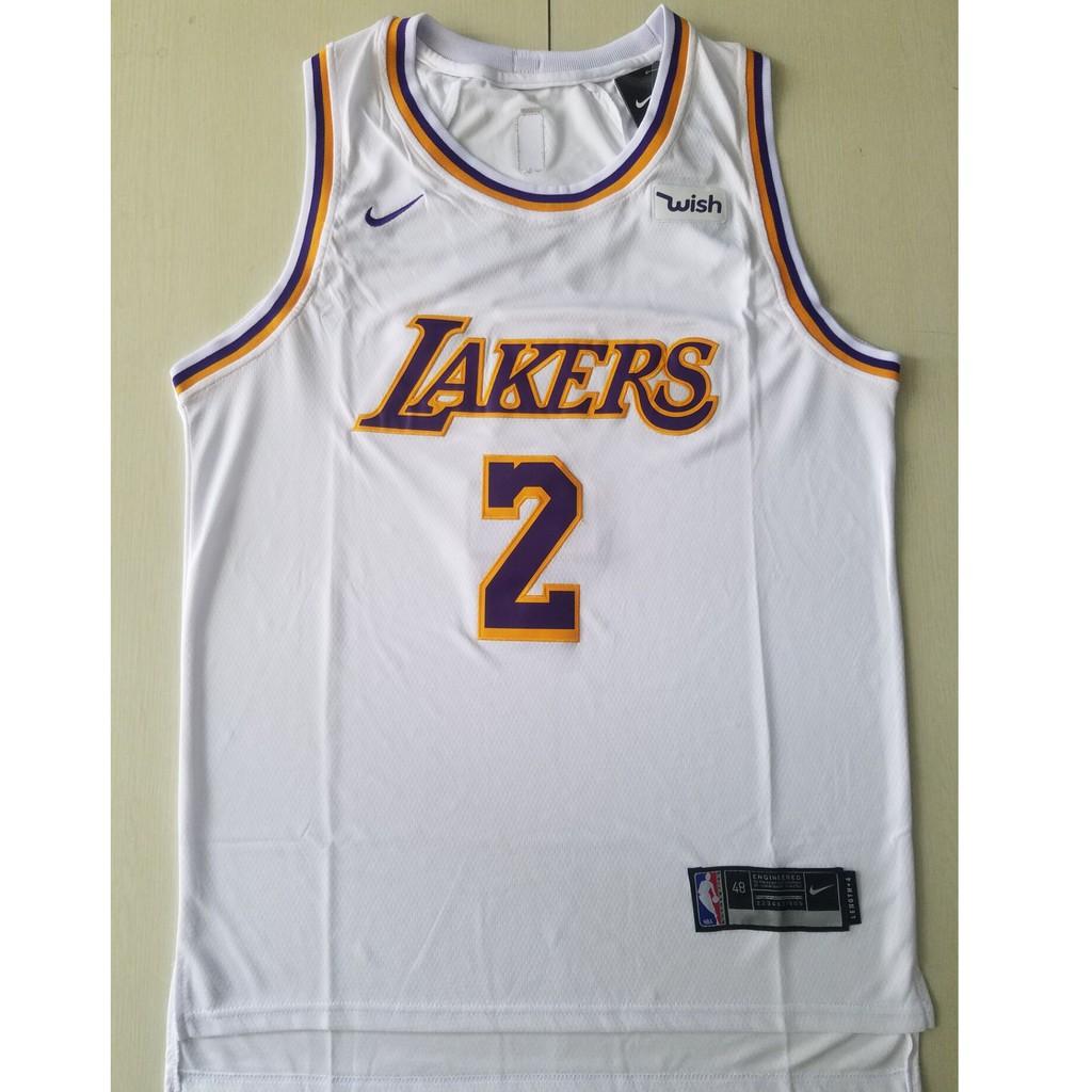 size 40 d9dc6 4493d Nike NBA Lakers Lonzo Ball No. 2 White Jersey