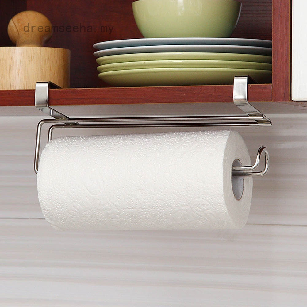 Toilet Roll Paper Stainless Steel Holder Bathroom Kitchen Tissue Holder Cabinet Door Back Hanging Storage Racks Shopee Malaysia