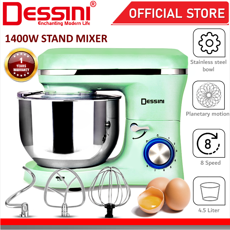 DESSINI ITALY 8 Speed Electric Stand Mixer Egg Beater Blender Grinder Dough Whisk Bowl Pengadun Bancuh Telur (4.5L)
