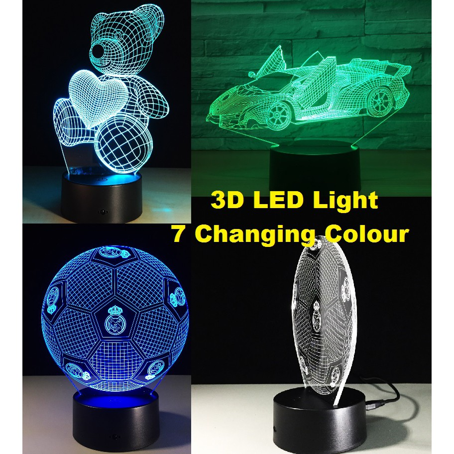 *SHIP 1DAY from MALAYSIA* USB LED 3D Night Light Touch Table Lamp 7 Color Decor Gift Set