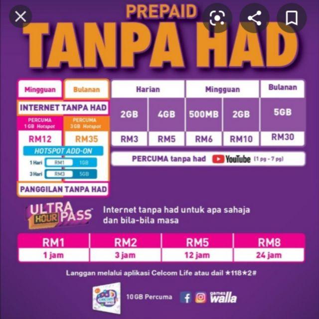 Celcom Prepaid Unlimited Data Unlimited Call Rm35 Sebulan Shopee Malaysia