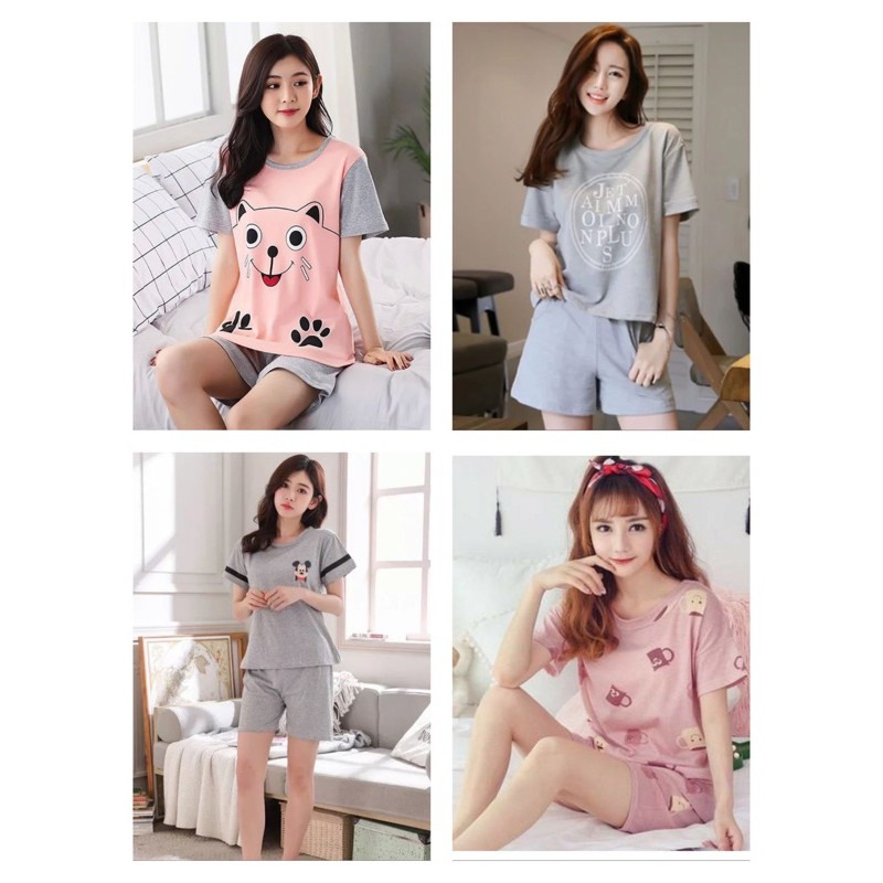 [READY STOCK] WOMEN PRINTED DESIGN COMFORTABLE SLEEPWEAR PYJAMAS SET (FREE SIZE(ABLE TO FIT UP TO SIZE L)