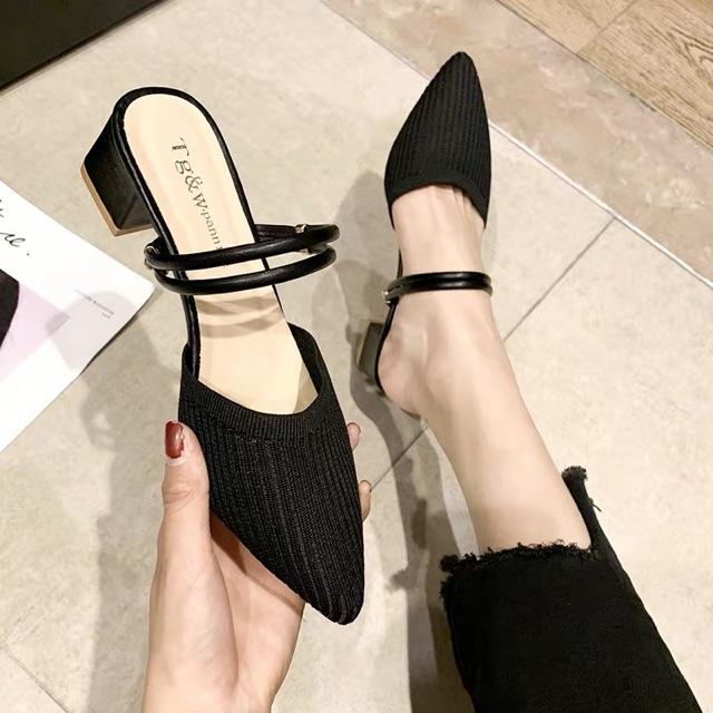 [35~39]Korean knitted fabric pointed half slippers 秋款单鞋女韩版针织尖头半拖鞋粗跟两穿穆勒鞋仙女风包头凉鞋