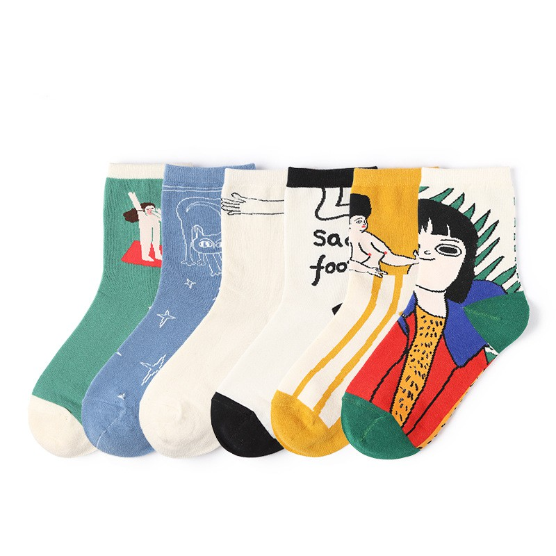 cartoon socks new art fan home series stockings cute playful illustration  socks