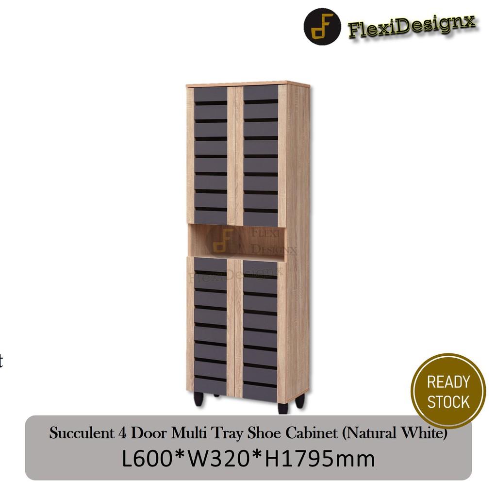 Flexidesignx 4 Door Solid Board Multi Tray Shoe Cabinet Simple