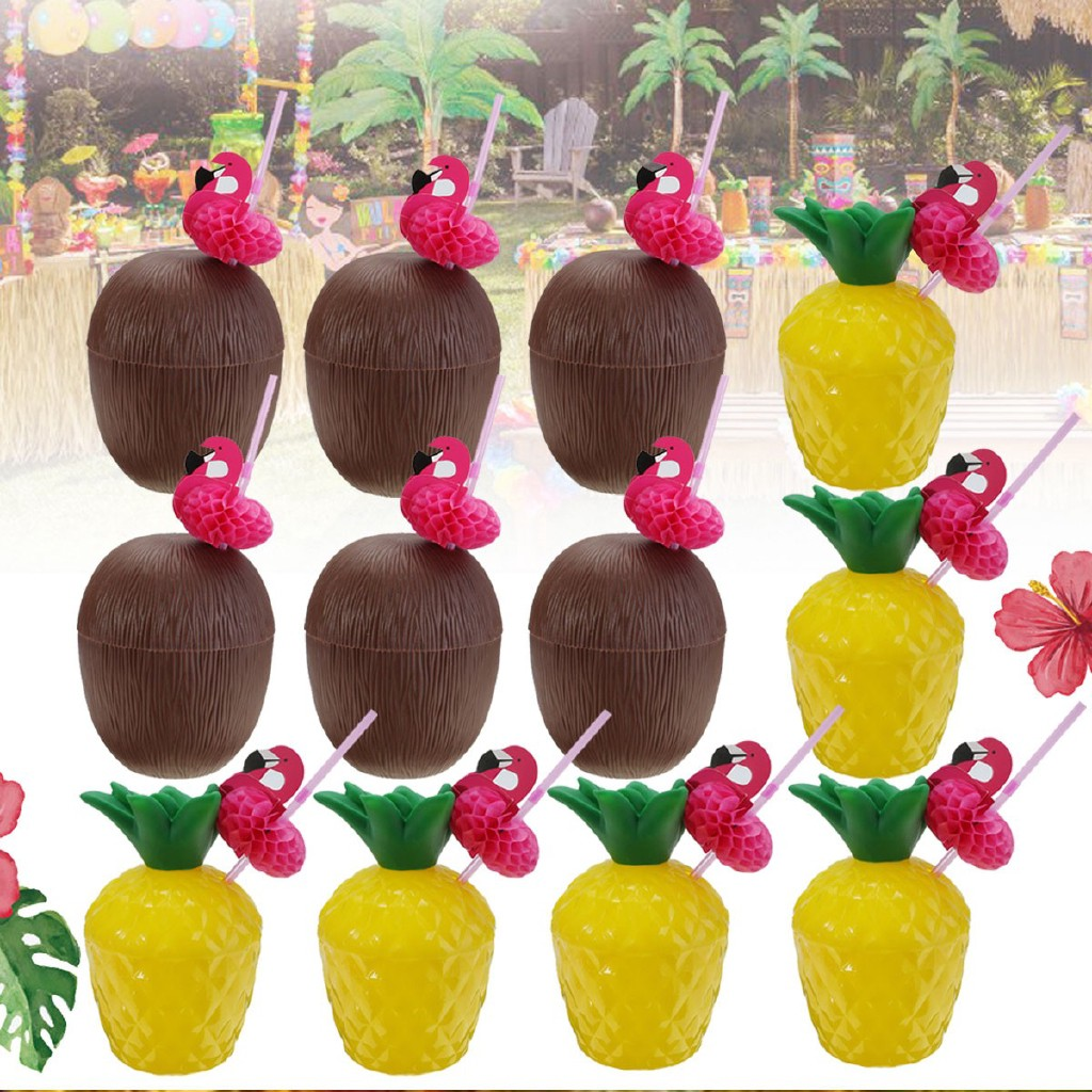Pack of 6pcs Hawaiian Tropical Coconut Drinking Cup Straw Party Supplies