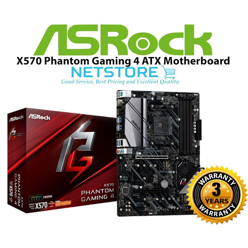 ASRock X570 Phantom Gaming 4 AM4 AMD X570 ATX Motherboard