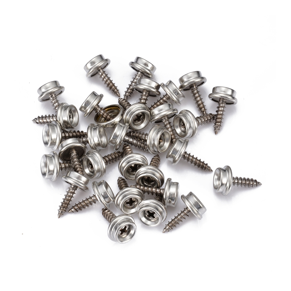62pcs Snap Fasteners 15mm Stainless Press Stud Heavy Duty Canvas Screw Kit