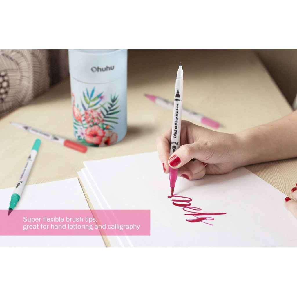 Art Markers Dual Tips Coloring Brush Fineliner Color Pens 36 Colors Of Water Based Marker For