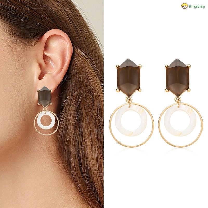 249412e17c1e9 Women Round Alloy Earrings Golden Circle Stud Earrings for Party Wedding
