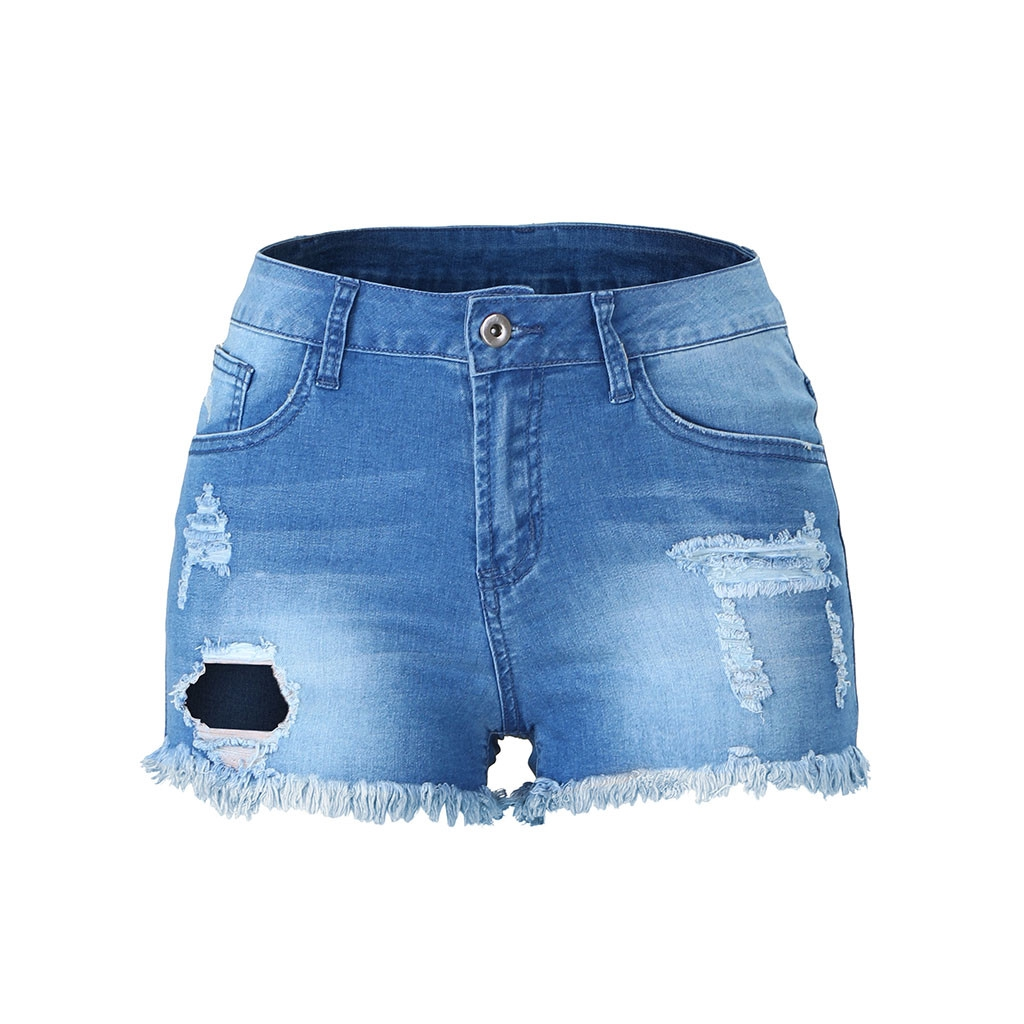 Women High Waisted Denim Shorts Vintage Ripped Folded Hem Jeans Hot Pants Casual Button Shorts with Pockets