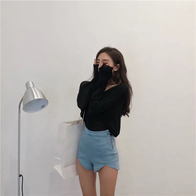 【S~L】New Korean style high waist Denim Shorts 秋装女小心机显瘦复古高腰弹力裤侧拉链显瘦不规则牛仔短裤