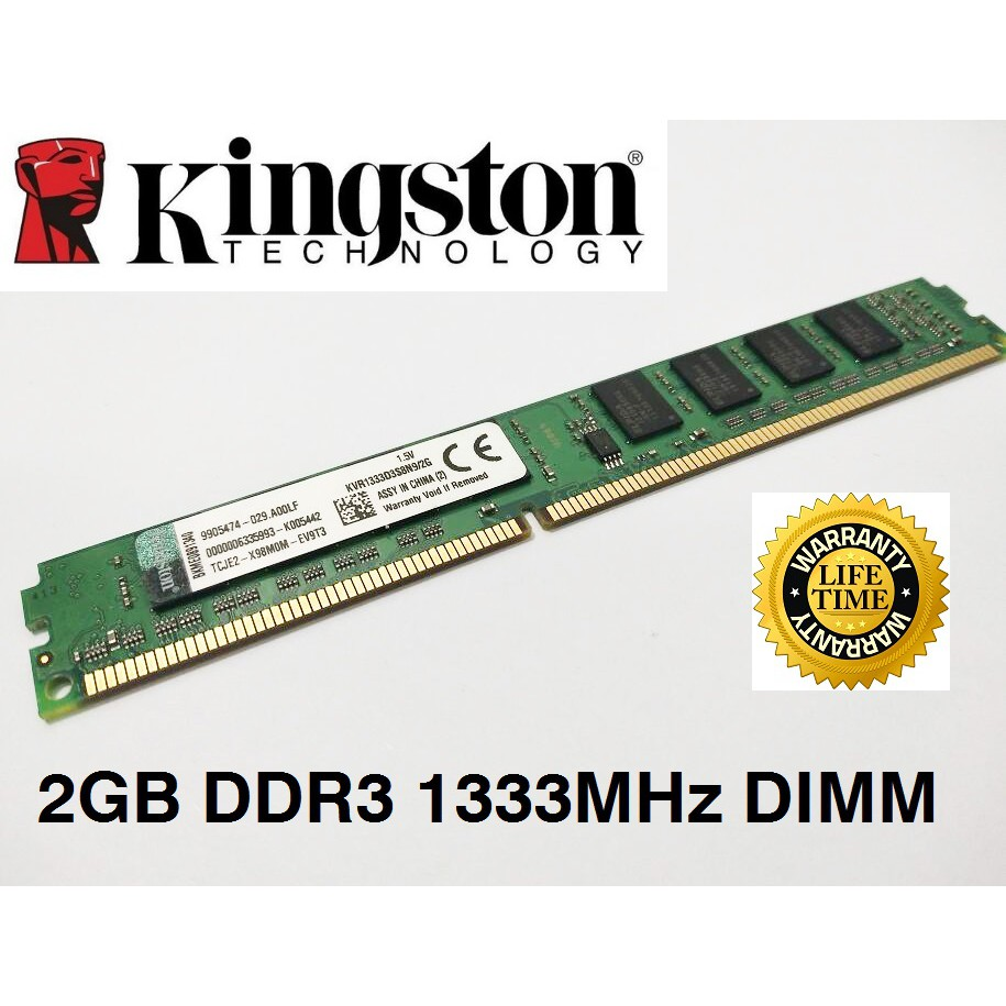 Kingston Value Ram Ddr3 2gb 1333mhz Pc3 10600 Desktop Ram Kvr1333d3n9 2g Sp Pc Memory Shopee Malaysia