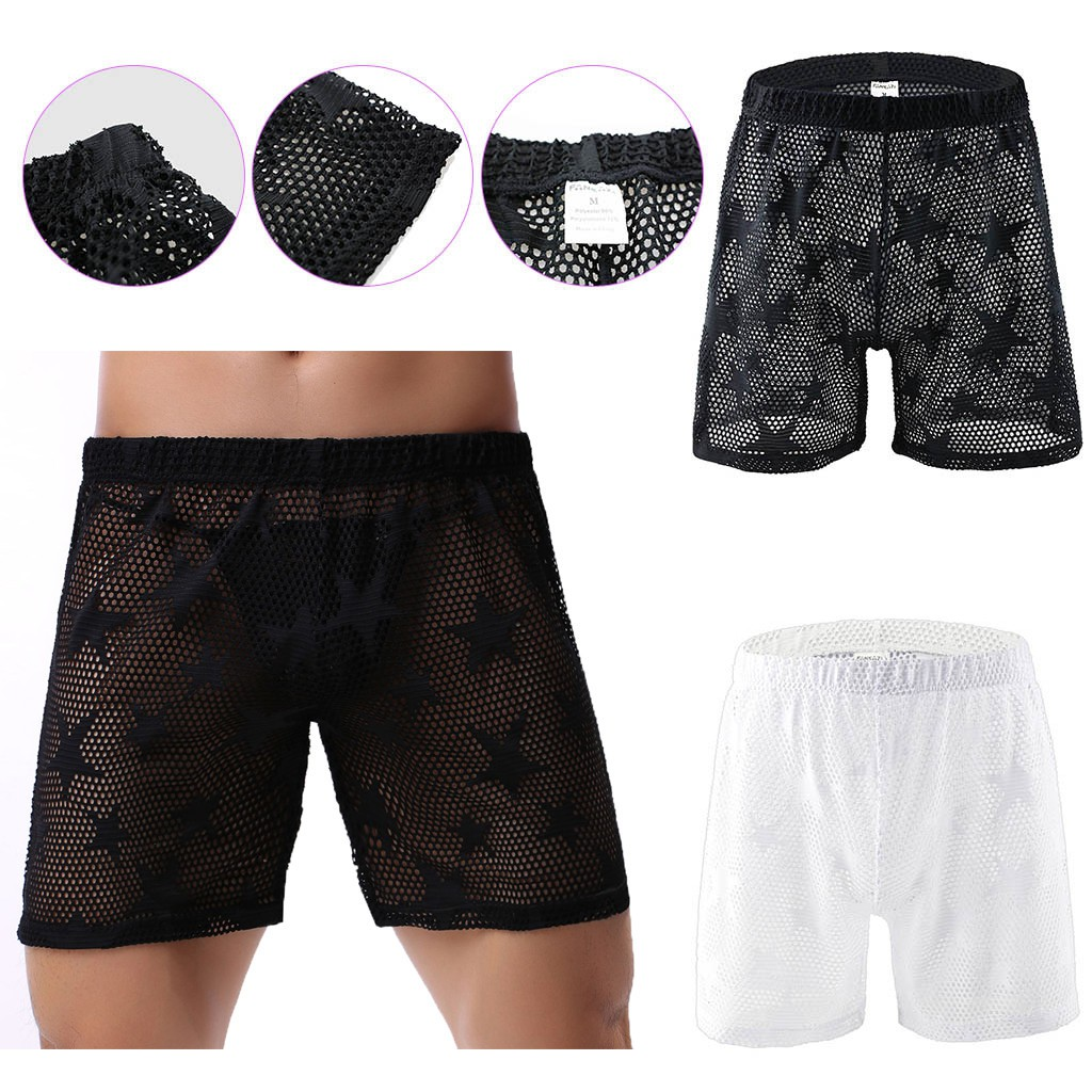 wannaMen' Underwear Star Mesh Breathable Jacquard Pant Sexy Transparent Underwear