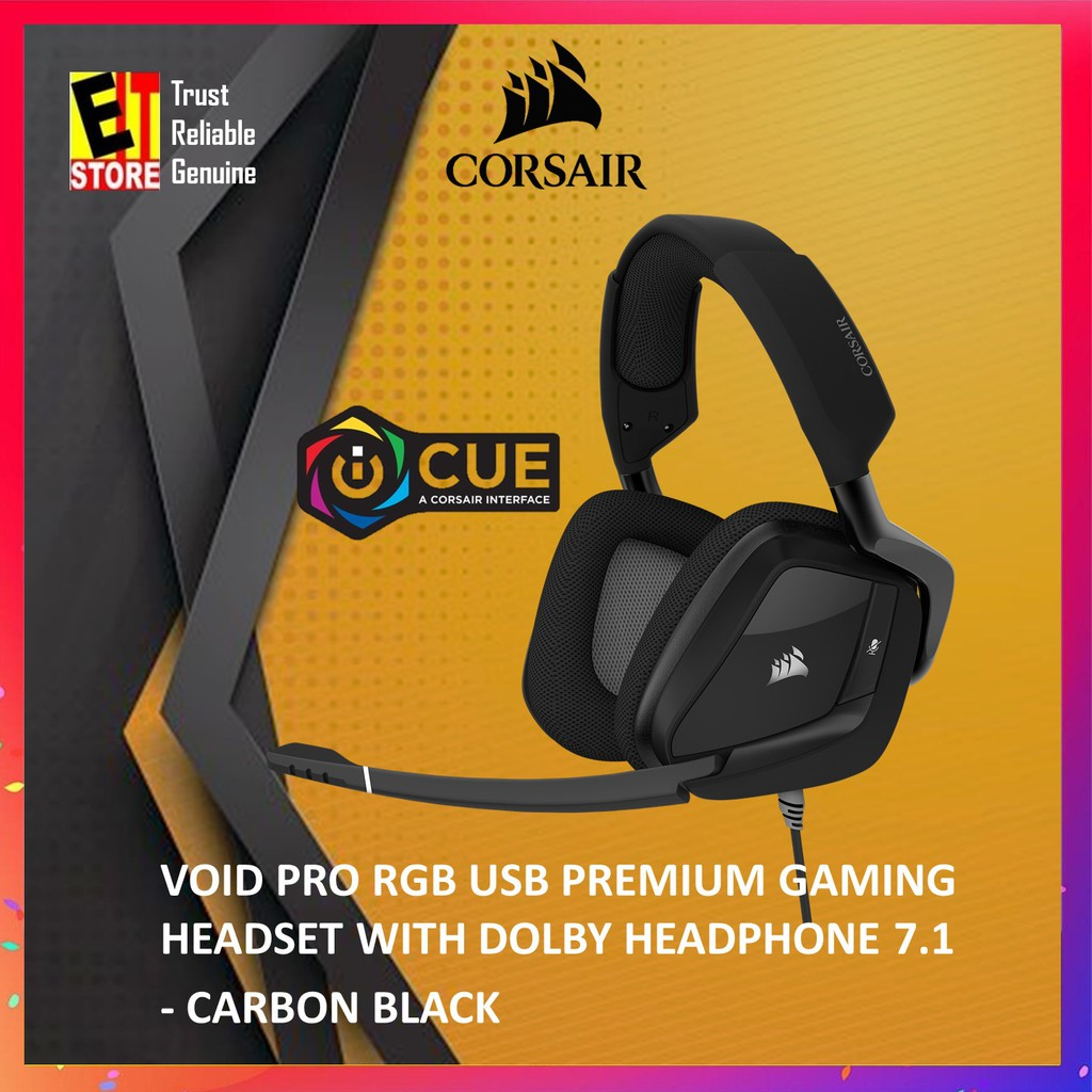 CORSAIR VOID PRO RGB USB PREMIUM GAMING HEADSET WITH DOLBY HEADPHONE 7 1 —  CARBO