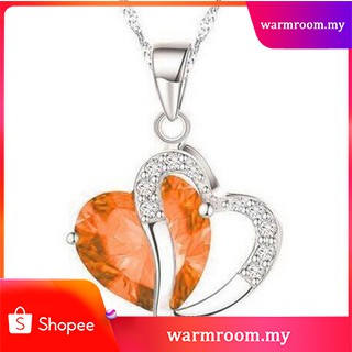 fe220f9c4184a Hot Sale Women Heart Shaped Crystal Rhinestone Silver Chain Pendant  Necklace✨
