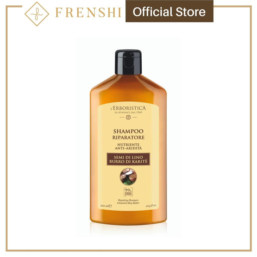Frenshi L'Erboristica Hair Shampoo (Made in Italy) - SHAMPOO WITH LINSEED AND SHEA BUTTER 300ML