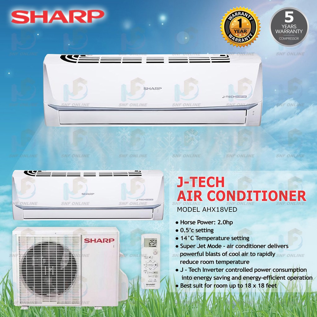 Sharp Inverter J-Tech Air conditioner 2 0HP AHX18VED R32
