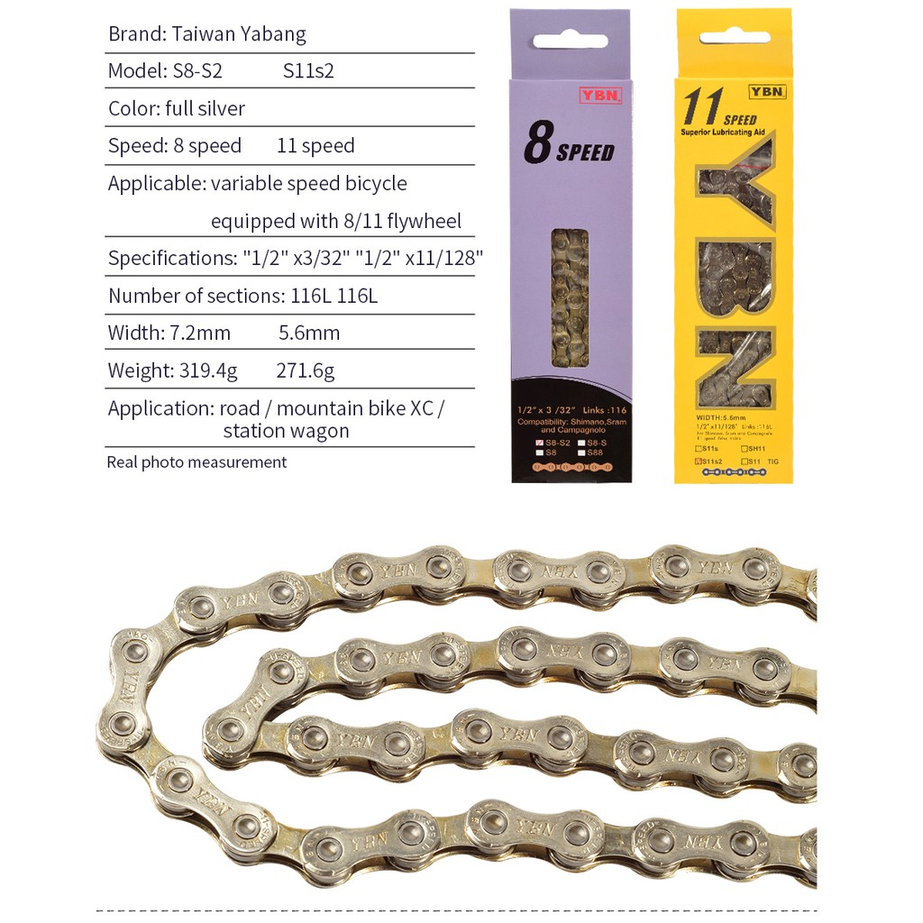 Alloy Sports 8-11 Speed Bike Chain MTB Road Racing Bicycle Hollow 116L Riding