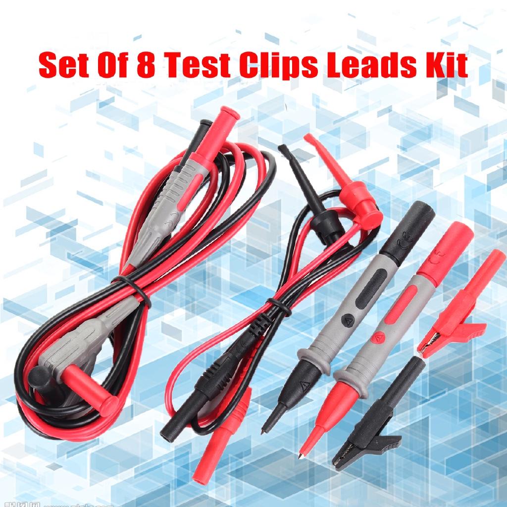 Set Of 8 Test Clips Leads Kit Fluke Multimeter Heavy Duty Banana Tester Probe